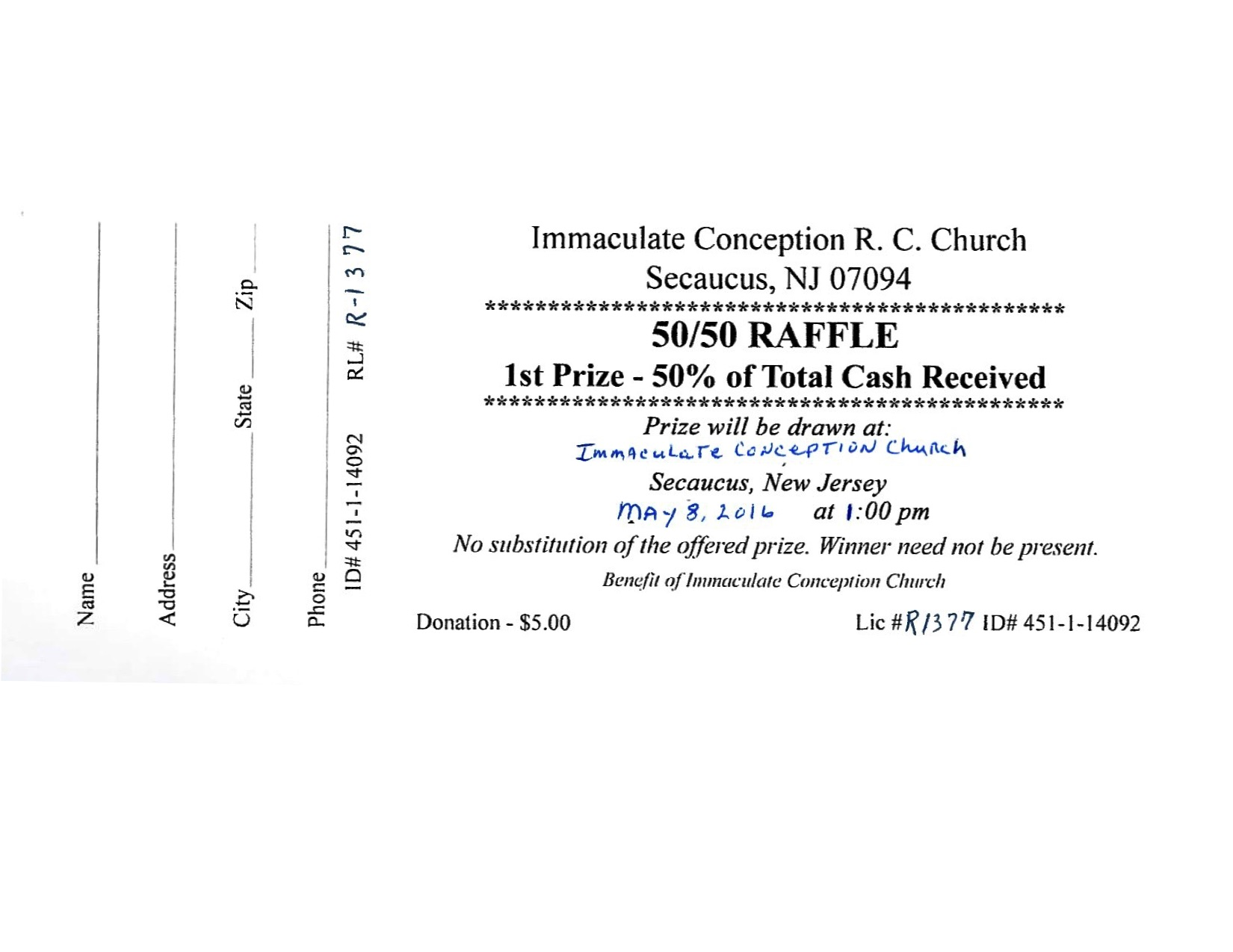 immaculate conception church icc mother s day 50 50 raffle